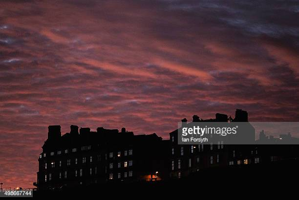 Clouds over Saltburn are lit by a stunning winter sunrise on November 25 2015 in SaltburnbytheSea England After a mild week the wintery weather is...