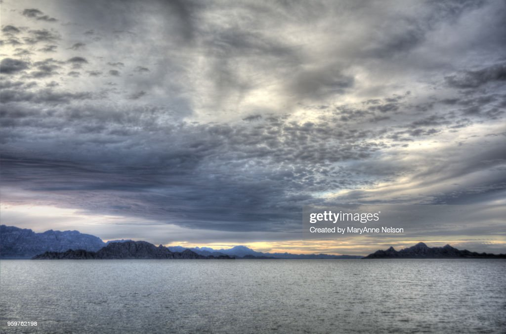 Clouds over Sea of Cortes at Sunset : Stock-Foto