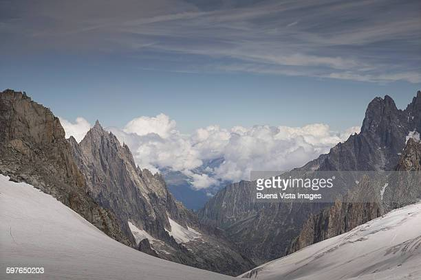 Clouds over the Alps in the Mont Blanc Massif