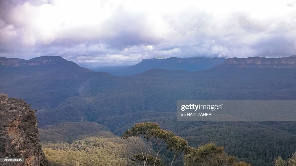 Clouds over the blue mountains National Park : Stock Photo
