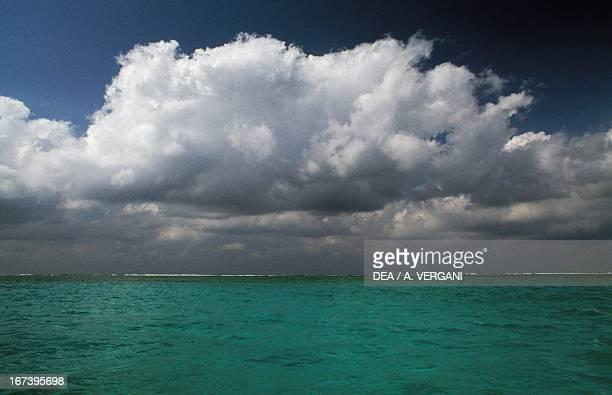 Clouds over the coast of Caicos Islands Lucayan Archipelago Caribbean