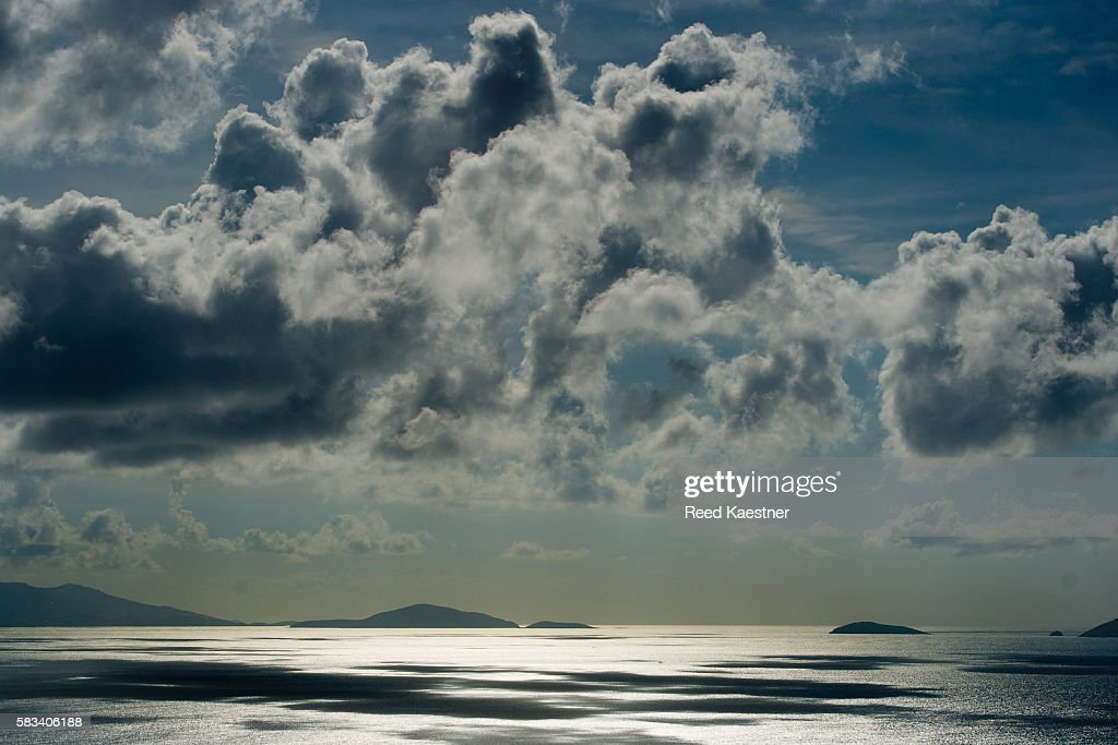 Clouds over the ocean from Tortola, BVI : Stock Photo