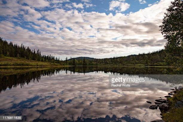 clouds reflected in water - rachel wolfe stock photos and pictures