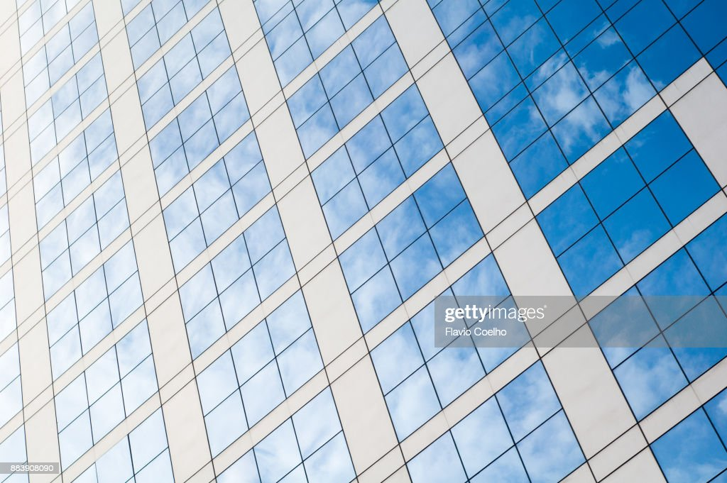 Clouds reflected on building facade : Stock Photo