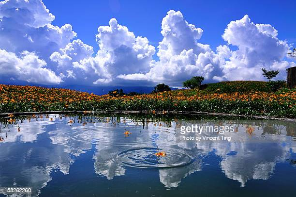 clouds reflection - hualien county stock pictures, royalty-free photos & images