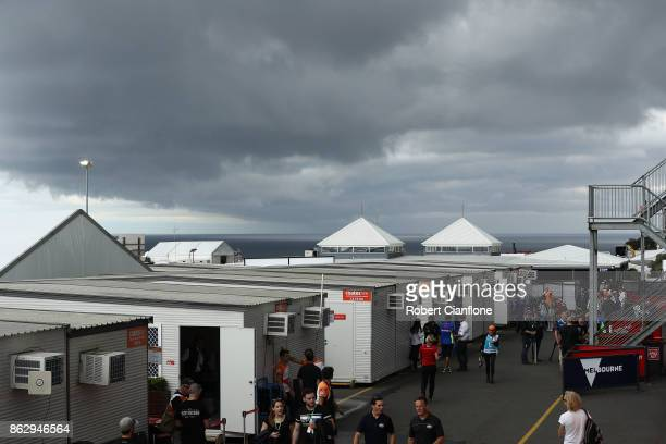 Clouds roll over the circuit during previews ahead of the 2017 MotoGP of Australia at Phillip Island Grand Prix Circuit on October 19 2017 in Phillip...