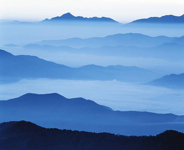 Clouds shrouding a mountain range