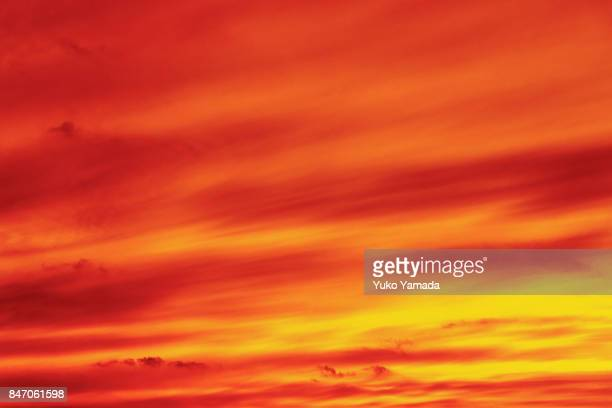 Clouds Typologies - Abstract Image of Dramatic Red Sunset Sky