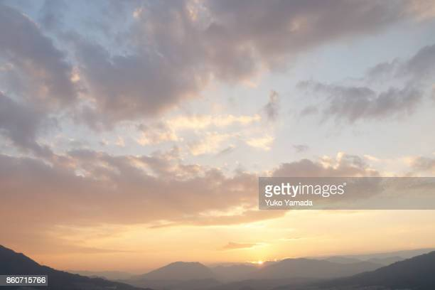 clouds typologies - cloudscape during sunset - colorful sunset stock photos and pictures