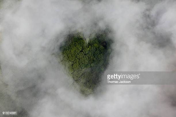 Clouds with heart-shaped opening