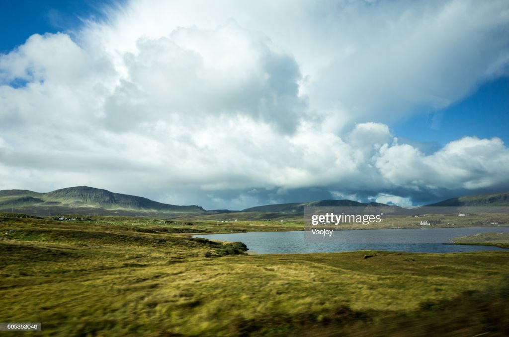 Cloudscape and the lanscape, Scottish Highlands, Isle of Skye : Stock Photo
