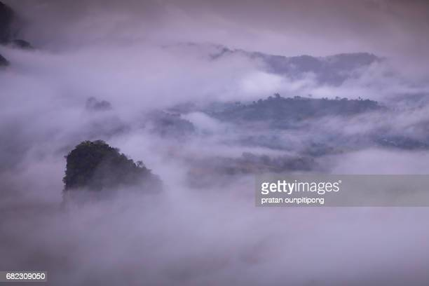 cloudscape in tropical mountain - humidifier stock pictures, royalty-free photos & images