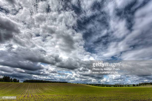 Cloudy blue sky over green field