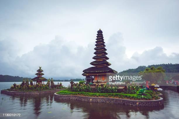 Cloudy but yet a beautiful view of Pura Ulun Danu Bratan, a Hindu temple on Bratan lake, Bali, Indonesia.