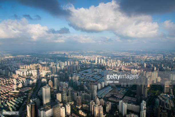 Cloudy Day City View from Shanghai Tower in Lujiazui, Pudong, Shanghai, China