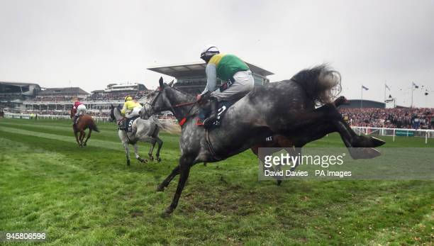 Cloudy Dream ridden by Brian Hughes in the JLT Melling Chase during Ladies Day of the 2018 Randox Health Grand National Festival at Aintree...