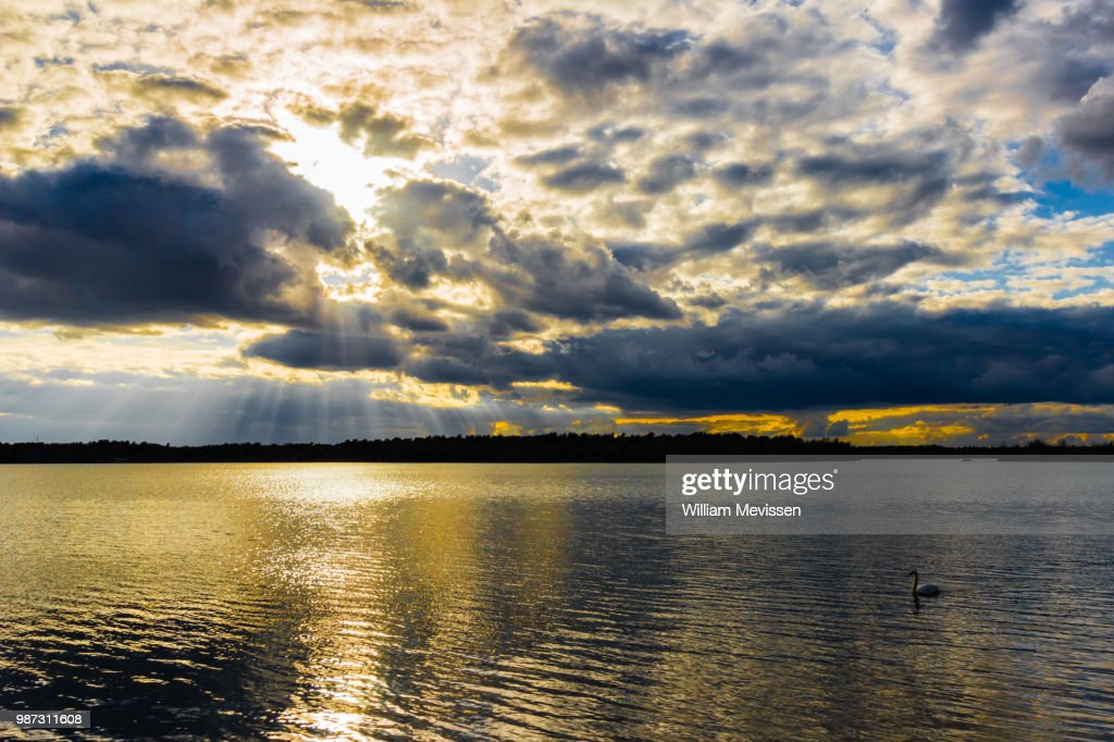 Cloudy Golden Lake : Stock Photo