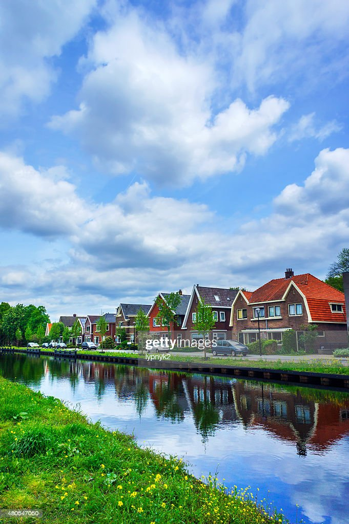 Cloudy morning in the small europe town. : Stock Photo