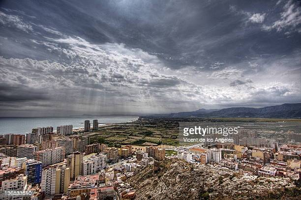 Cloudy morning over Cullera city