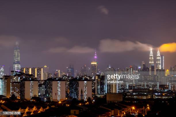 Cloudy night landscape over downtown Kuala Lumpur, Malaysia.