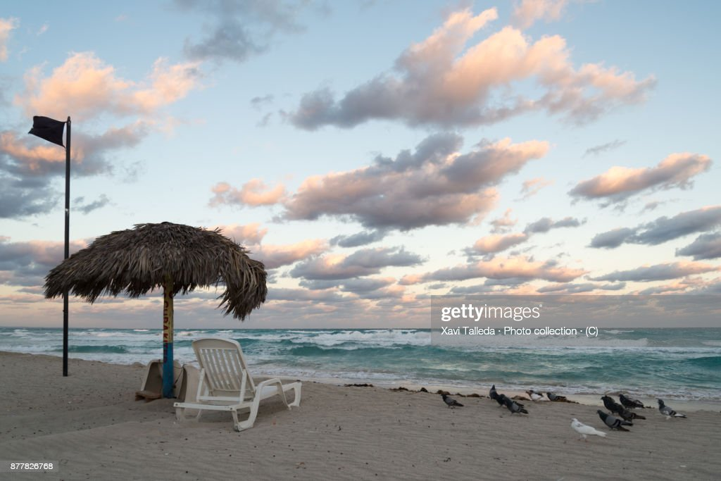 A cloudy seascape sunrise in the beach with a surveillance post with a hammock under an umbrella : Stock-Foto