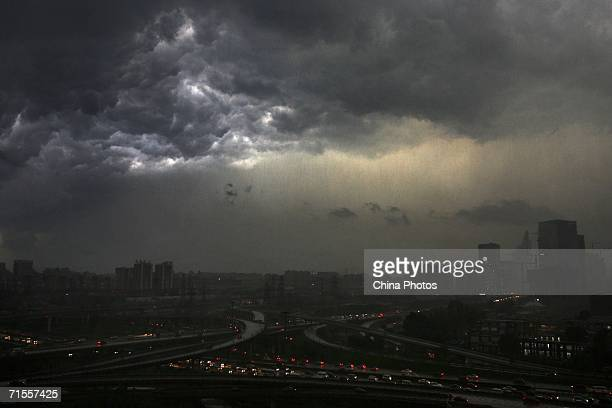 Cloudy skies are seen before a rainstorm comes on August 1, 2006 in Beijing, China. According to state media, at least 1,382 people have been killed...
