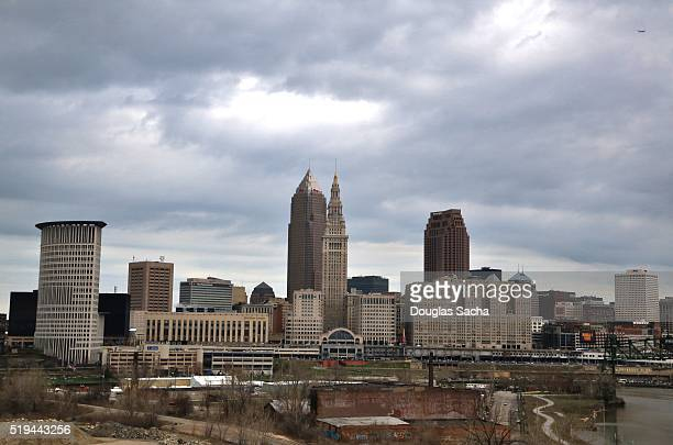 Cloudy skies over the urban city, Cleveland, Ohio, USA
