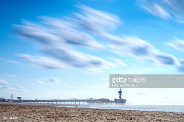 Cloudy sky above beach, Scheveningen, Hague, Netherlands