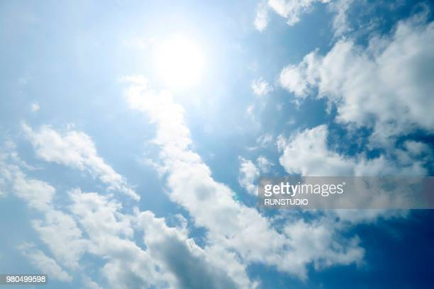 cloudy sky and sun - clear sky stock pictures, royalty-free photos & images