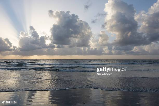 cloudy sky at dawn over beach on the atlantic ocean coast of tropical island of tobago in trinidad and tobago. - marina wheeler foto e immagini stock