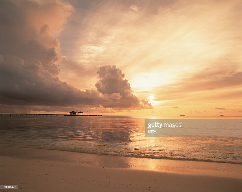 Cloudy sky at sunset in Maldives : Stock Photo