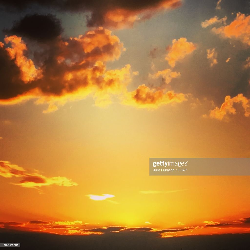 Cloudy sky during sunset : Stock Photo