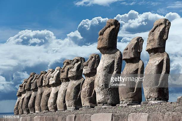 Cloudy sky over Moai at Ahu Tongariki Easter Island Chile