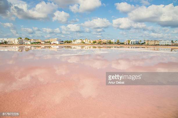 Cloudy sky reflected on the Formentera´s saltpans.