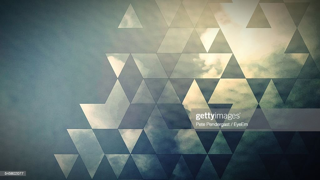 Cloudy Sky Seen Through Patterned Glass Of Window : Stock Photo