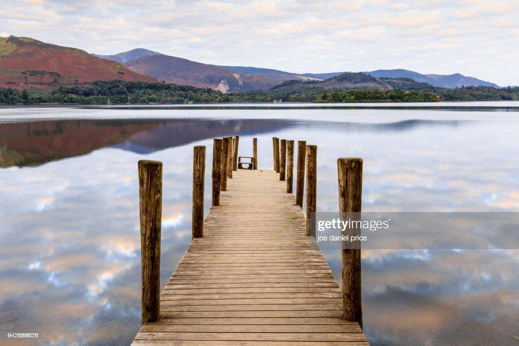 Cloudy Sunrise, Ashness Jetty, Derwent Water, Lake District, Cumbria, England : Stock Photo