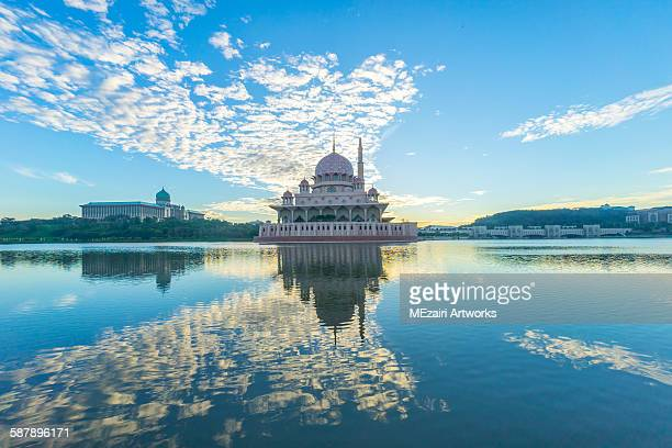 Cloudy sunrise at Putra mosque, Putrajaya Malaysia