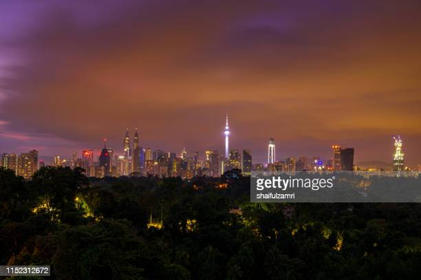 Cloudy sunrise over downtown Kuala Lumpur, Malaysia