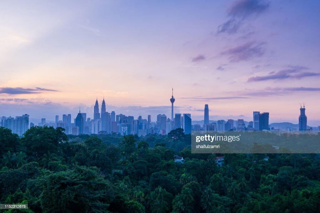 Cloudy sunrise over downtown Kuala Lumpur, Malaysia : Stock Photo