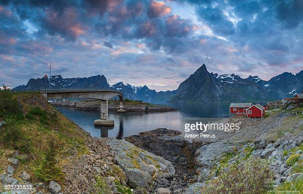 cloudy sunset in lofoten, city reine - anton petrus stock pictures, royalty-free photos & images