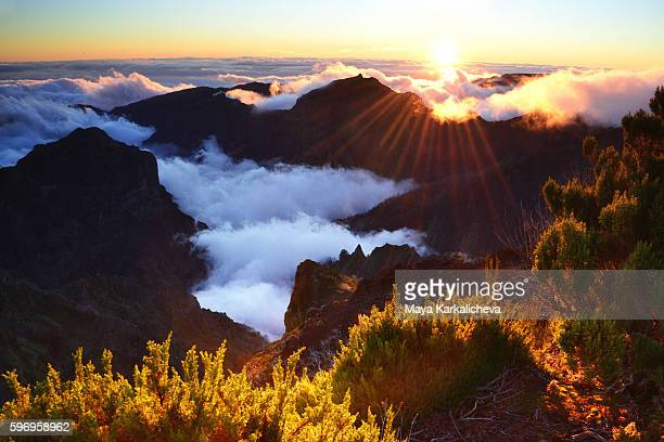 cloudy sunset over madeira - lareira stock pictures, royalty-free photos & images