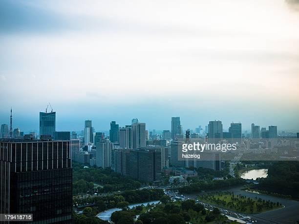 Cloudy Tokyo city
