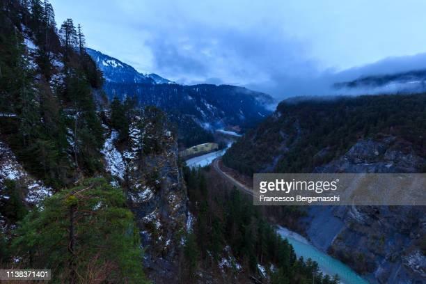 Cloudy twilight in the Rhein Valley. Rhein Gorge(Ruinaulta), Flims, Imboden, Graubunden, Switzerland, Europe