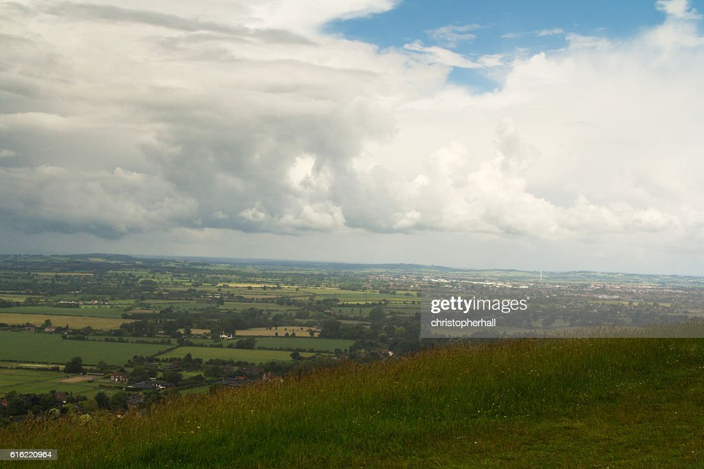 Cloudy view over the Chilterns in Buckinghamshire : Stock Photo