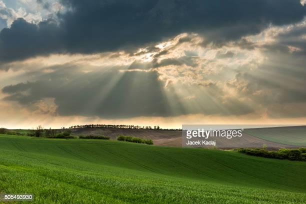 Cloudy wavy landscape