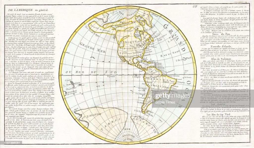 1785, Clouet Map of North America and South America ...