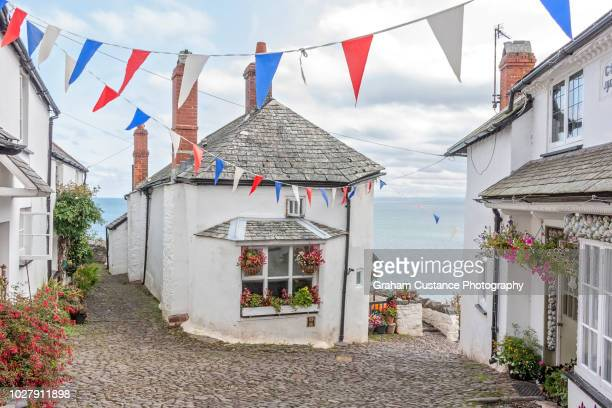clovelly - bunting stock pictures, royalty-free photos & images