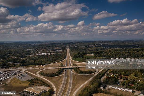 A cloverleaf interchange on Interstate 140 and highway 129 are viewed on approach to McGhee Tyson Airport on October 17 2016 over Knoxville Tennessee...