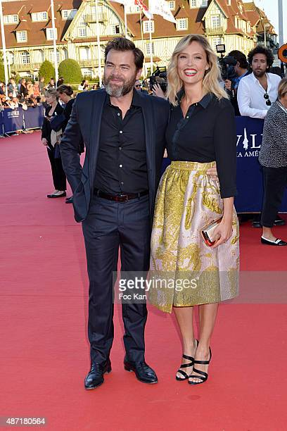Clovis Cornillac and Lilou Fogli attend the 'Jamais Entre Amis' Premiere during the 41st Deauville American Film Festival on September 6 2015 in...