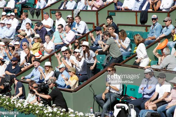 Clovis Cornillac his wife Lilou Fogli Melanie Thierry Anais Demoustier Jalil Lespert Guillaume de Tonquedec and Ary Abittan applausing in the Loge...